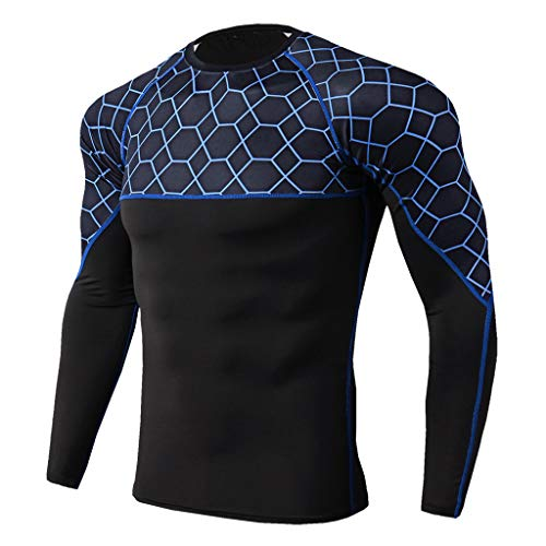 wo-Piece Elastic Casual T-Shirt Fast Drying Tops Pants Sports Tight Suit Set Fitness (Blue,S=US:XS) ()