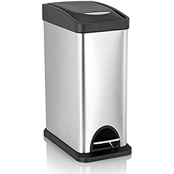 Amazon Com 5l Stainless Steel Foot Pedal Metal Trash Can