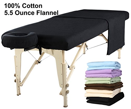 - Master Massage  Universal Massage Table Flannel Sheet Set 3 in 1 Table Cover, Face Cushion Cover, Table Sheet (Black)