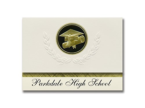 Signature Announcements Parkdale High School (Riverdale, MD) Graduation Announcements, Presidential style, Elite package of 25 Cap & Diploma Seal. Black & Gold.