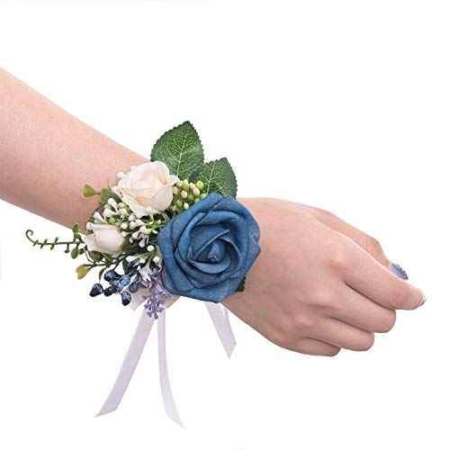 Ling's moment Wrist Corsages Wristband Blue Corsage for Men Women Hand Flower for Bride Wedding Porm Party Decor Set of 2