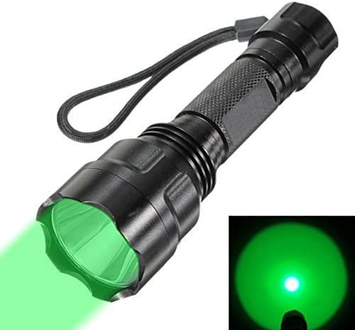 WINDFIRE WF-C8 300 Lumens Tactical Flashlight 150 Yard Green LED Coyote Hog Hunting Light with Pressure Switch Barrel Mount for Hunting Fishing Battery not included