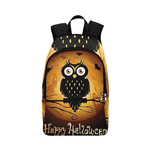 YSWPNA Halloween Owl Silhouette On Moon Casual Daypack Travel Bag College School Backpack for Mens and Women