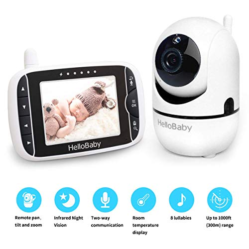 "Baby Monitor with Remote Pan-Tilt-Zoom Camera and 3.2'' LCD Screen, Infrared Night Vision, Temperature Display, Lullaby, Two Way Audio, with Wall Mount Kit (Black, 3.2"")"