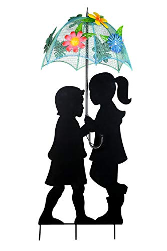 Alpine Corporation Solar Girl and Boy Silhouette with Umbrella Decor with LED Lights - Outdoor Yard Art Decor - 15