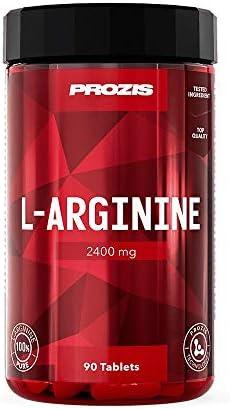 Prozis L-Arginine 2400 mg: Suplemento en comprimidos. Potenciador de óxido nítrico. Favorece la síntesis proteica, la salud cardiovascular, el desarrollo muscular y el rendimiento físico - 90 cápsulas
