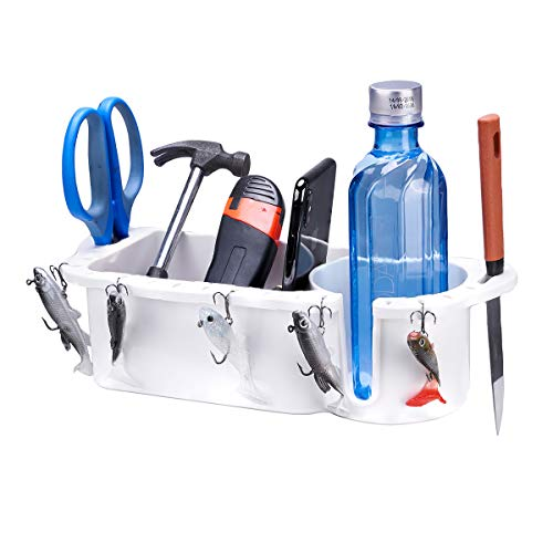 kemimoto Boat Caddy Organizer, Large Marine Cup Holder Household Storage Box White