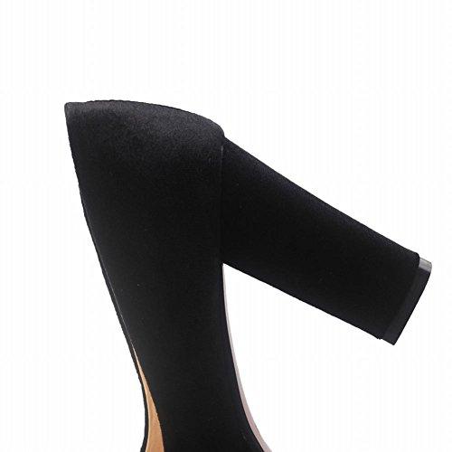Mee Shoes Damen chunky heels Plateau runde Pumps Schwarz
