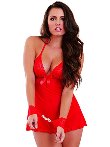 Lace Halter Doll Baby Triangle (Dreamgirl Women's Naughty Secrets Babydoll with Wrist Restraints, Red, One Size)