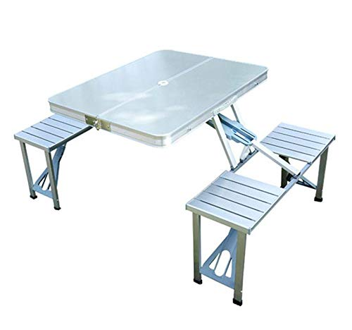 Tidyard Folding Picnic Table with Umbrella Hole and 4 Seats Set Portable Outdoor Aluminum Dining Table Set for Picnic Camping Party Garden Backyard Traveling