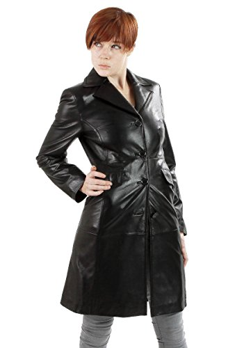 Lambskin Trench Coat (Ramonti Womens Leather Walking Trench Coat, Black,)