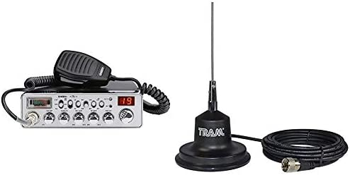 Uniden PC78LTX 40-Channel Trucker s CB Radio with Integrated SWR Meter, PA Function, Hi Cut, Mic RF Gain, and Instant Channel 9,Silver CB Antenna 4 Magnet Kit w RG-58 Coax Rubber Boot