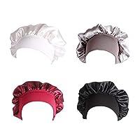 Elastic Wide Band Hat,Satin Sleep Cap, Night Sleeping Head Cover for Sleeping Supplies (black&gray&white&red-4pcs)