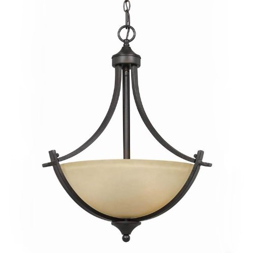 (Triarch International 33242 Value Series 240 Collection 3-Light Pendant, English Bronze with Antique Cognac Painted Glass)