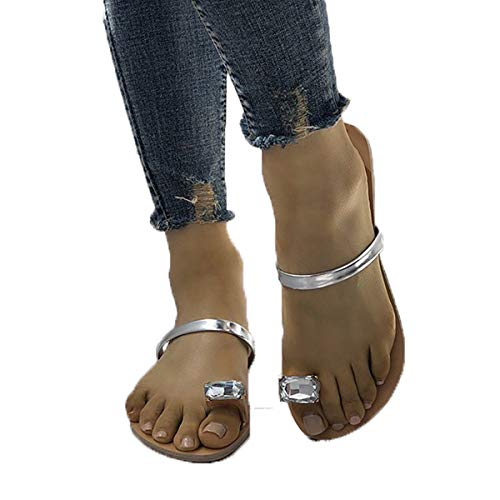 (Womens Large Toe Ring Flip Flop Sandal Summer Toepost Diamante Sparkly Synthetie Slip on)