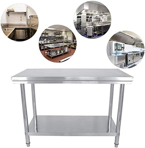 Commercial Worktop,Kitchen Worktop Double Layer Kitchen Work Table Professional Stainless Steel Kitchen Catering Worktable Stainless Steel Kitchen Table,120x85x60cm