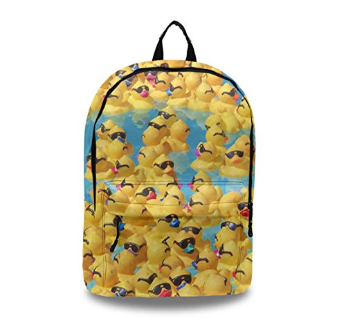 (Backpack Laptop Backpack Leather Travel Daypack College School Bookbag for Women, Girls & Students (Cute Rubber Yellow Ducks with Sunglasses))