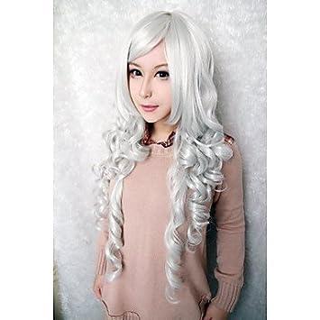 hjl-bella peluca de modo de color blanco pelucas cosplay sintéticas, blanco
