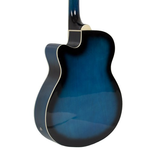Electric Acoustic Bass Guitar Blue Solid Wood Construction With Equalizer - Image 3