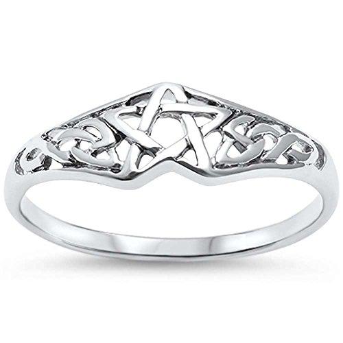 OMEGA DIAMOND CO Pentagram Celtic Star .925 Sterling Silver Ring Sizes 4-11 ()