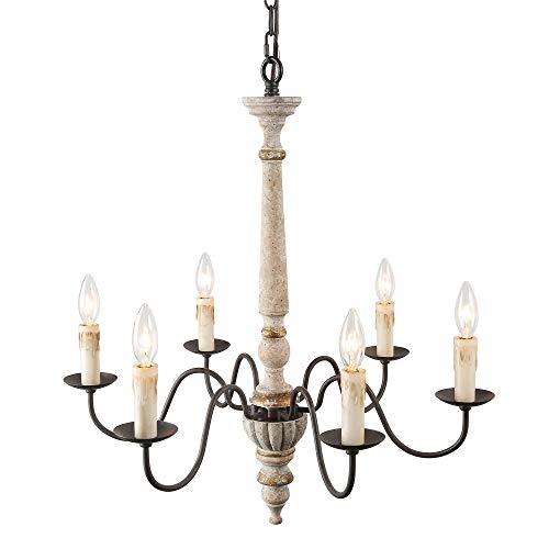 Style Country Chandelier (LALUZ 6 Lights French Country Shabby Chic Chandelier in Distressed Retro-White Resin Faux Wood and Rusty Metal Finish, 25.2