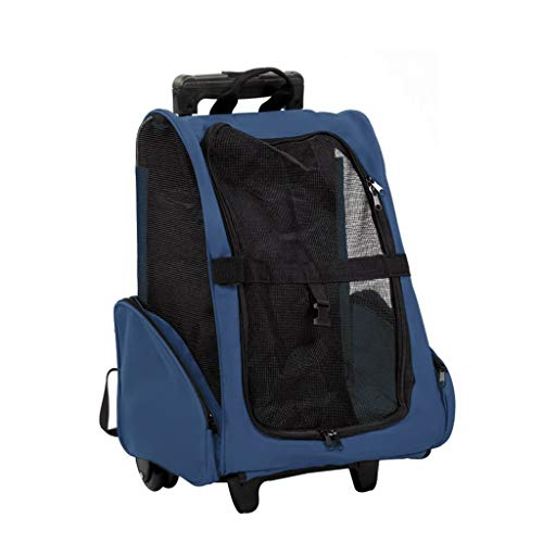 Pet Bag Pet Trolley Bag Retractable Handle Oxford Cloth Portable Dog Cat Out Travel Pulley Backpack Navy 16.5x10.2x18.1 Inches