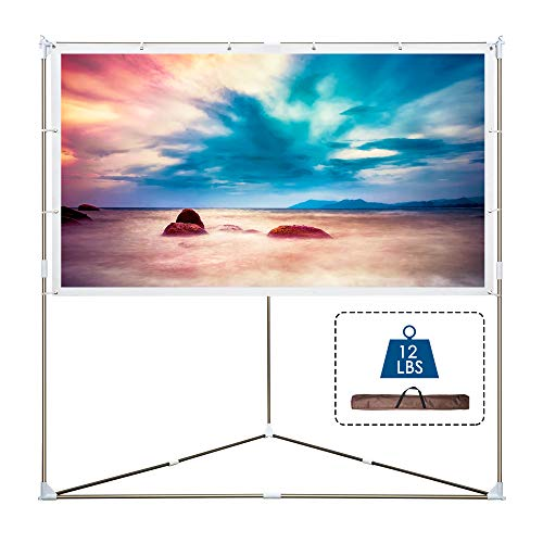 Cloud Mountain Portable Projector Screen with Stand, 80 inch 16:9 Outdoor & Indoor Triangle Projector Screen, Wrinkle-Free Projection Screen with Aluminum Bars, for Home Cinema, Theater, Event, Office