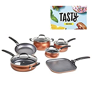 Tasty, Cookware Set Non-Stick - Diamond Reinforced - PFOA Free, 11 Pieces (Copper)