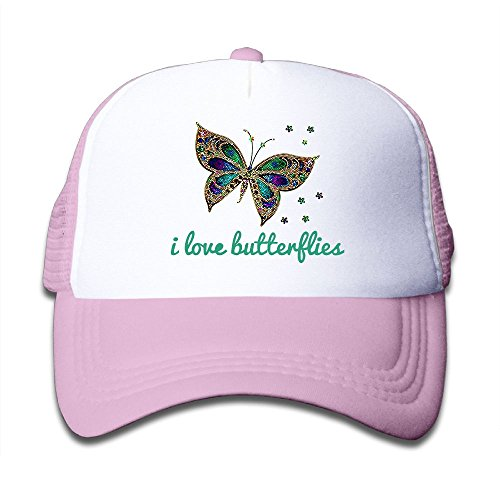 I Love Butterfly Mesh Hat Trucker Style Outdoor Sports Baseball Cap With Adjustable Snapback Strap For Kid's Pink One Size