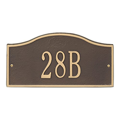 Whitehall Personalized Cast Metal Address Plaque - Small Rolling Hills Custom House Number Sign - 12'' x 6'' - Allows Special Characters - Bronze/Gold by Whitehall (Image #4)