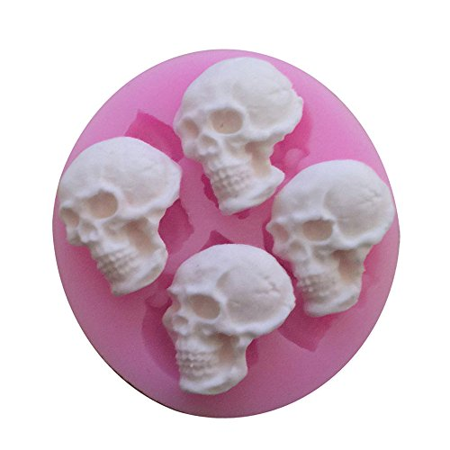 Witkey Halloween Skull Shape Silicone Mold Fondant Cake Forms Decoration Molds Chocolate Pastry Candy Mould Kitchen Baking Cookie Mould Soap Decorating (Skull Shapes)