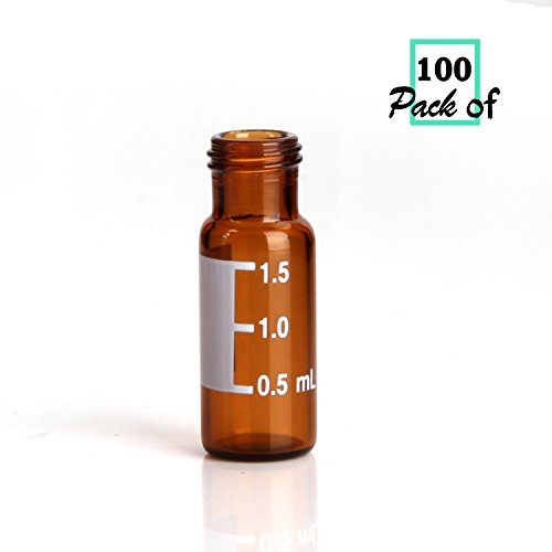 Screw Vial Sample Thread (Autosampler Vials,2mL Amber Sample Vials with Write-on Spot and Graduations,Screw top 9-425 Thread Finish,12mm ID x 32mm L(Pack of 100))