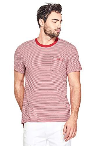 (GUESS Factory Men's Dev Striped Logo Front Pocket Tee)