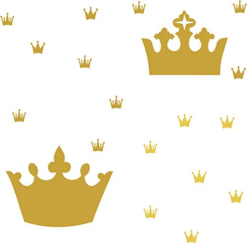 Easma Crown Wall Decals Kids Room Decals Nursery Wall Decals, Princess Crowns Wall Stickers, Crown in The Wall Removable Peel and Stick Wall Decals Metallic Vinyl Decals