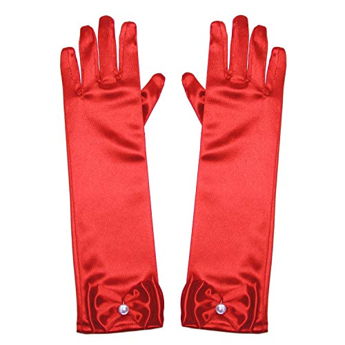 Little Girls Princess Gloves(Solid Color Long Elbow Length) For Birthday,Wedding,Holiday,Costume Party(Red) -