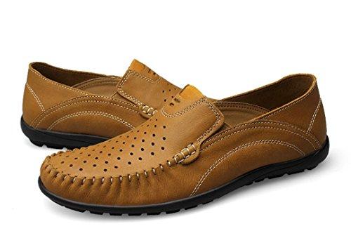 Tda Herenmode Ademende Geperforeerde Lederen Loafers Drijfjurk Zakelijke Bootschoenen Kaki