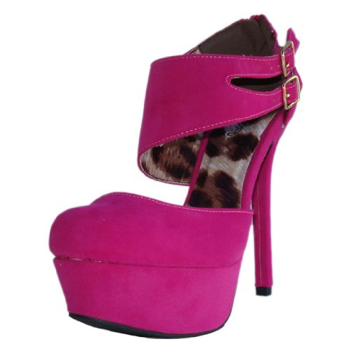 Qupid Women's Miriam13 Fuchsia Velvet Double Buckle Ankle Cuff Platform High Heel Pump 8.5 M US
