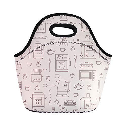 Semtomn Lunch Bags Utensil Small Appliances Beige Flat Line Household Cooking Tools Neoprene Lunch Bag Lunchbox Tote Bag Portable Picnic Bag Cooler Bag