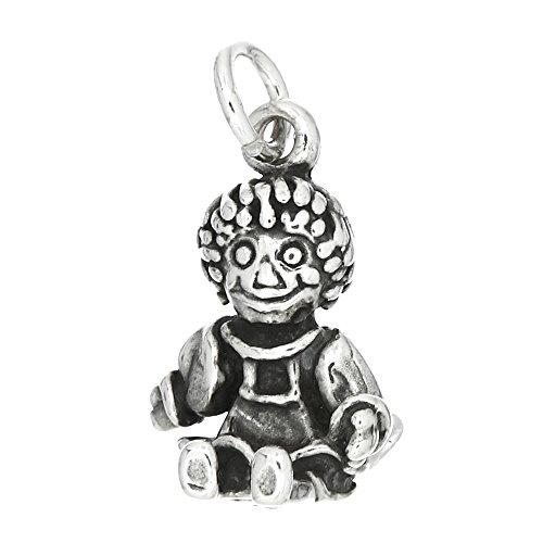 Sterling Silver Oxidized Three Dimensional Raggedy Ann Doll Charm (Raggedy Ann Charm)