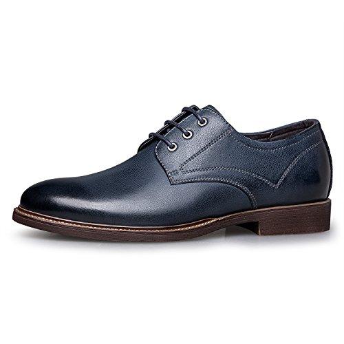 Zro Mens Premium Äkta Läder Casual Snörskor Blå