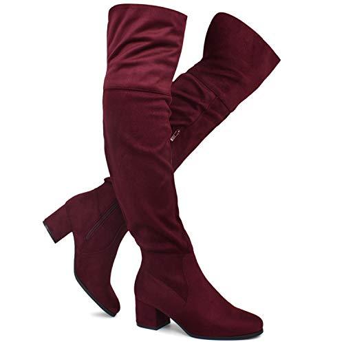 Premier Standard - Women's Over The Knee Stretch Boot - Trendy Low Block Heel Shoe - Sexy Over The Knee Pullon Boot, TPS2019100132 Burgundy Su Size 10