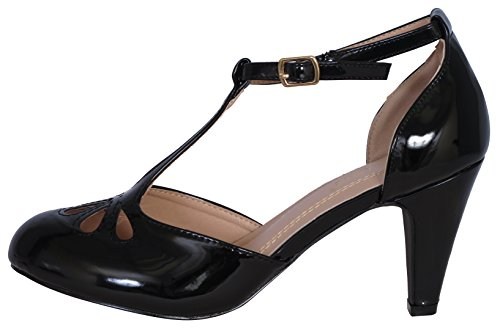 Black Heel 36 Mid Teardrop Dress Patent Kimmy Cut Out Pumps T Women's Chloe Chase Strap wSqRKZwO