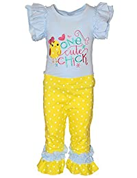 "Unique Baby Girls ""One Cute Chick"" Easter Outfit (6/XL, Blue)"