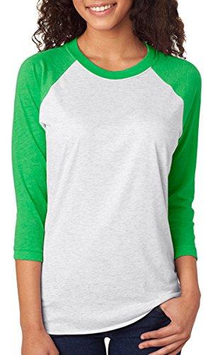 Next Level Unisex 3 -Quarter Sleeve Tee, Envy/Heather White, (Wholesale Designer T-shirts)