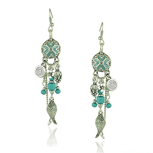 R&G DAHONGPAO Vintage Court Folk Four-leaf Grass Seashells Small Fish with a Drop of Rice Pearl Tassel Baroque Earrings (Blue) (Baroque Rice Pearl)