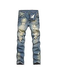 Stunner Men's Vintage Casual Ripped Broken Hole Jeans Denim Joggers Pants