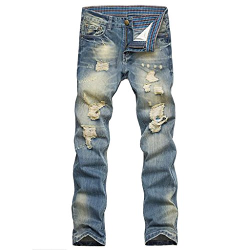 Stunner Men's Vintage Casual Ripped Broken Hole Jeans Denim Joggers Pants CN 500 36