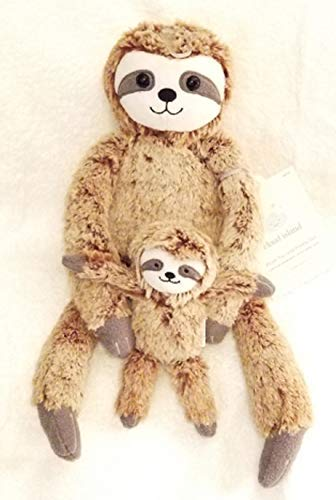 Cloud Island Plush Sloth Toy with Detachable Baby Sloth Rattle