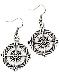 Steampunk Nautical Pirate Compass Earrings Pendant Charm...