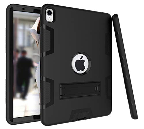 (iPad Pro 11 Inch 2018 Case, ZERMU Heavy Duty Kickstand Shockproof Hard Plastic+Silicone Defender High Impact Rugged Bumper Full-Body Protective Case for New iPad Pro 11